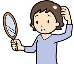 薄毛に悩む女性イラスト